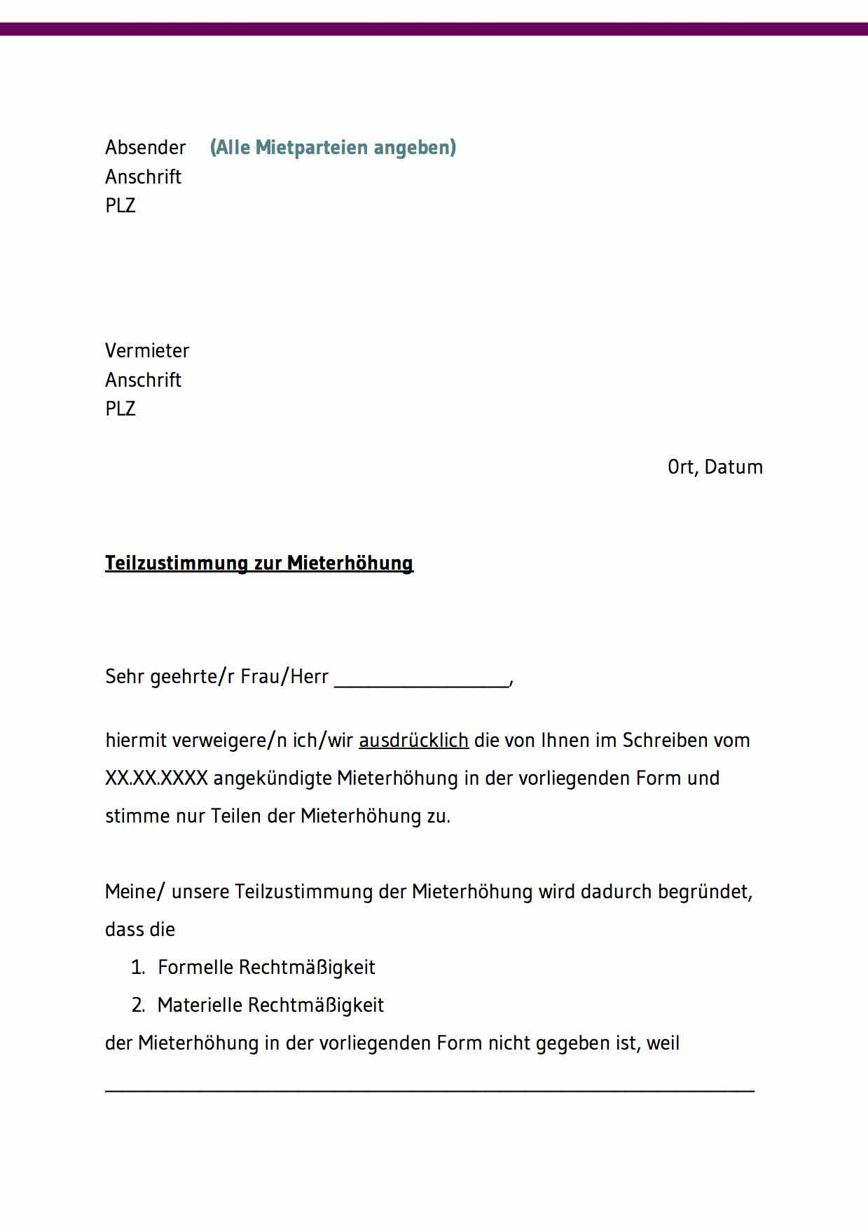 Ankundigung Mieterhohung Muster Vorlage Word Und Pdf