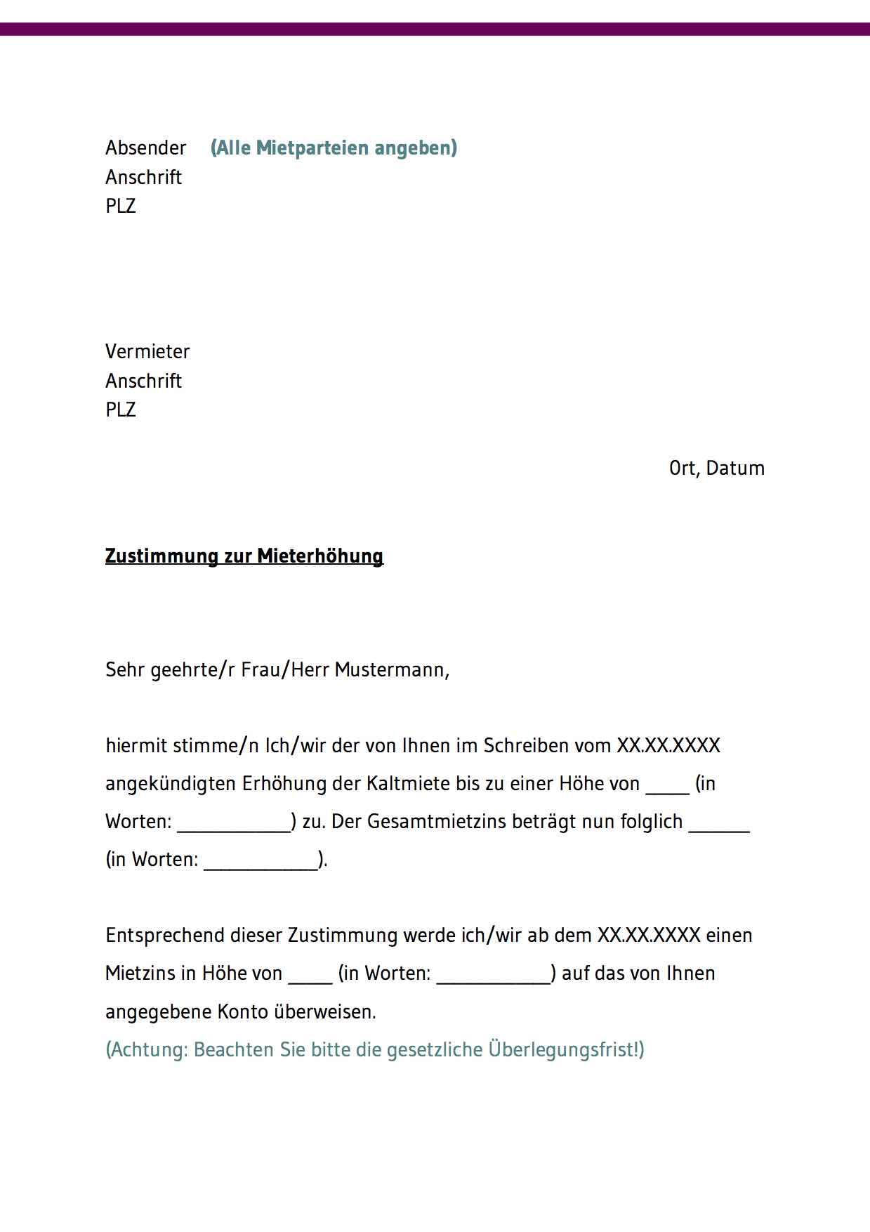 Ankundigung Mieterhohung Rechtssicheres Muster Zum Download 9